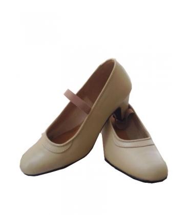Scarpe di Flamenca En Pelle Beige